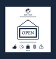 information plate with open sign board hanging vector image