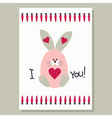 Love card with cute banny vector image