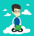 man using cloud computing technology vector image vector image