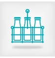 milk bottles in basket on white background vector image vector image