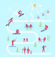 mountain ski resort infographic map vector image vector image