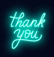 neon lettering thank you on a dark background vector image