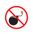 No Bomb Sign Black bomb with a burning fuse vector image
