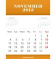 November 2013 calendar design vector image vector image