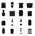 Packaging black simple icons set vector image vector image