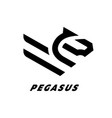 pegasus flying horse linear logo vector image