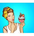 pop art sexy girl with sweet cupcake vector image vector image