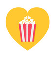 popcorn icon inside yellow heart shape red vector image vector image