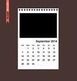 September 2014 calendar vector image vector image
