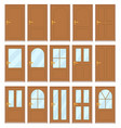set of the various doors on the white background vector image