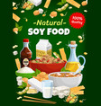 soy food and soybean eco products poster vector image vector image