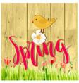 spring flower bird brown watercolor background vec vector image