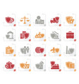 stylized business and industrial insurance icons vector image vector image