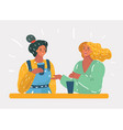 two female friends sitting in a cafe and have fun vector image