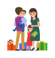 family mother father son daughter and presents vector image