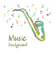 Saxophone music background with notes vector image
