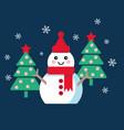 funny cartoon snowman vector image