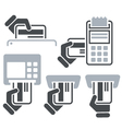 ATM POS-Terminal and hand credit card icons vector image vector image