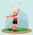 badminton player racket shuttlecock sport flat vector image