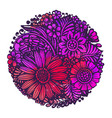 beautiful flowers and plants in circle vector image