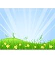 Beautiful green meadow scene vector image