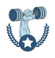 bodybuilder hand holding barbell fitness gym logo vector image vector image