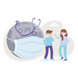 boy girl and world with medical mask and vector image