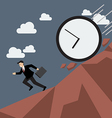 Businessman running away from clock attack vector image vector image