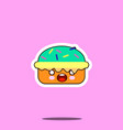 cake macaron smile cartoon face food kawaii flat vector image vector image