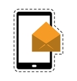 cellphone message email envelope cut line vector image