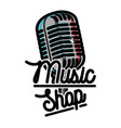 color vintage music shop emblem vector image vector image