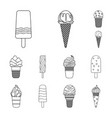 different ice cream outline icons in set vector image vector image