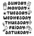 doodle weekdays and elements for bullet journal vector image vector image
