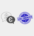 dotted financial chat icon and grunge vector image vector image