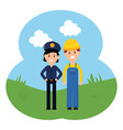 female police officer with builder vector image vector image