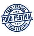 Food festival blue round grunge stamp