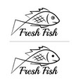 fresh fish logo symbol sign black colored set 7 vector image vector image