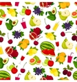 Fresh ripe fruits and juicy drinks pattern vector image vector image