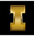 Golden font type letter I vector image vector image
