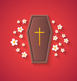 Grave and Flowers Funny Halloween Carton with Lon vector image vector image