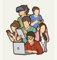group people using digital devices cartoon vector image vector image