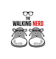 hand drawn nerd badge design the walking nerd vector image