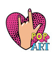 hand with sign rock pop art vector image
