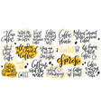 handdrawn lettering set about coffee vector image vector image