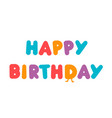 Happy birthday text kids birthday card colored