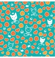 Hipster cat seamless on green background vector image vector image