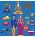 India symbols set Hinduism design elements South