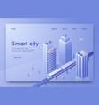 isometric is written smart city landing page vector image vector image