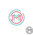 Letter M logo circle frame monogram mockup line vector image vector image