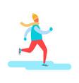 man in earphones running warm winter cloth vector image